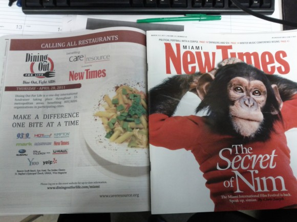 Dining Out For Life 2011 Advertisement featured in Miami New Times Issue #25