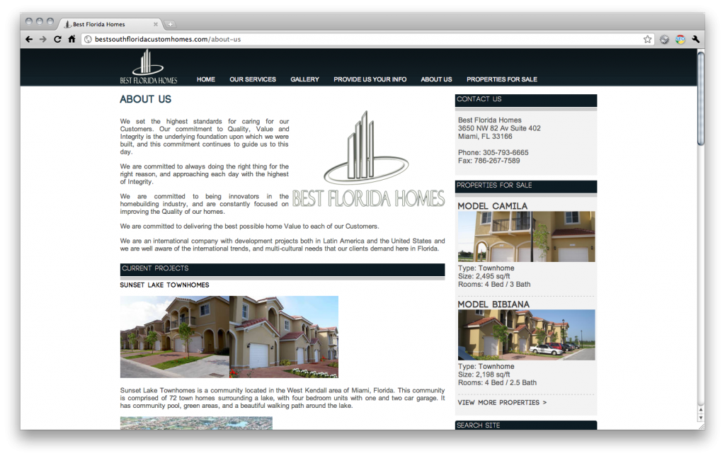 Best Florida Homes | Website Development | Epiksol Creative