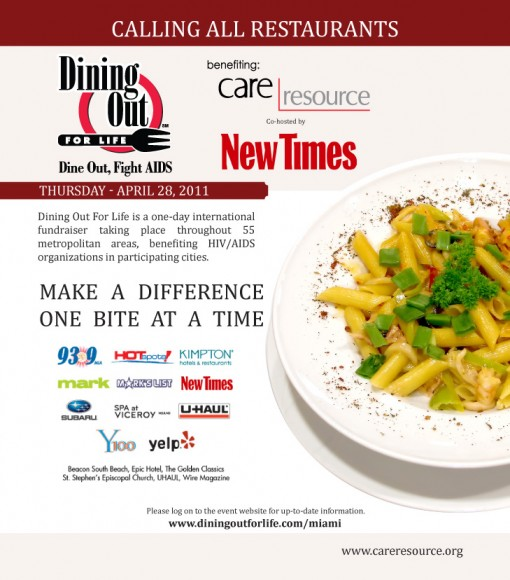 Dining Out For Life Full Page Advertisement featured in the Miami New Times | Epiksol Creative
